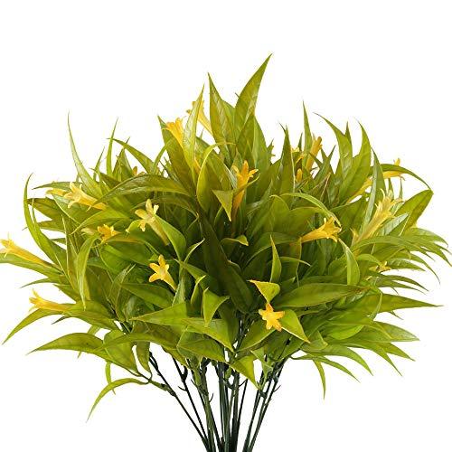 Nahuaa Plantas Artificiales Flores de Plástico 4pcs Plantas Simulación Flor Falsa Plantas de Jardin Flores Artificiales Decoración Jarrones Exterior Interior para Hogar Cocina Restaurante Hotel Boda