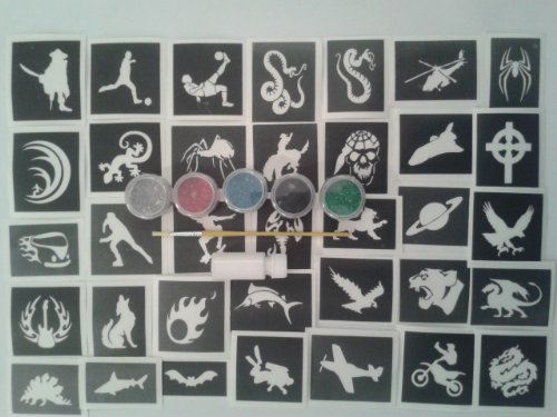 Junge x 20 Tattoo-Schablone Set für Glitzer Tattoos / body art + 5 Glitterfarben