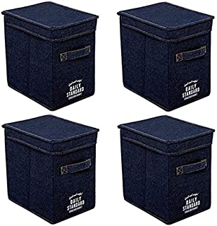 MU Grande boîte de rangement avec couvercle, tissu non tissé, boîte de rangement de bureau, boîte de rangement pliable,Ble...