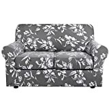 H.VERSAILTEX Super Stretch 3 Pieces Sofa Covers for 2 Cushion Couch Covers Sofa Slipcovers Feature Soft Thick Bouncy Modern Style with Individual Cushion Covers Pet Friendly - Loveseat, Grey