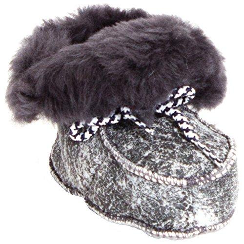 BRUBAKER Babyschuhe Krabbelschuhe - Flauschige Lammfellstiefel - Schnürung - Antik Grau 24 EU