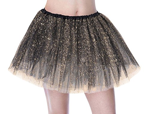 Tutu Women's Sparkle Sequin Triple Layered Tulle Party Dance Ballet Skirt, Black