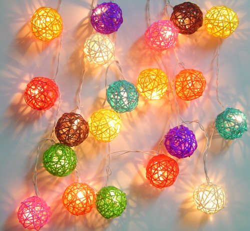 Mixed Colour Rattan Ball Fairy Light String Lights 20 Lanterns