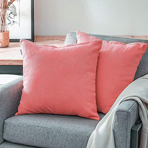 Topfinel juego 2 Fundas cojines Cama Sofas de Chenilla Algodón Lino duradero Almohadas Decorativa de color sólido Para Sala de Estar, sofás, camas, sillas Dormitorio Jardín Coche 45x45cm Rosa