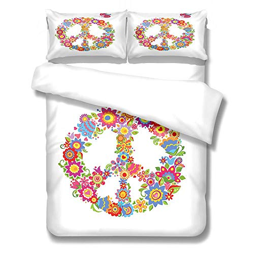 Kekeyt Duvet Cover Sets Logo Flower Bed Linen King Size Duvet Cover Sets 3D Hd Printing 135 X 200 Cm-Cotton adult children's bedding, santa duvet cover set