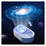 LED Star Projector Night Light - Spaceship Shape Sky Ocean Wave Lámpara De Proyector Estrellada con Altavoz Bluetooth Nebula Cloud Light, Niños Adultos Niñas