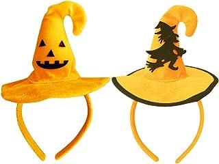 IRIWA ハロウィン カチューシャ 大人 子供 可愛いネイルシール コスプレ小物 仮装パーティー用 かぼちゃ 蜘蛛 蝙蝠 幽霊 髑髏髪飾りセット (かぼちゃ&魔女)