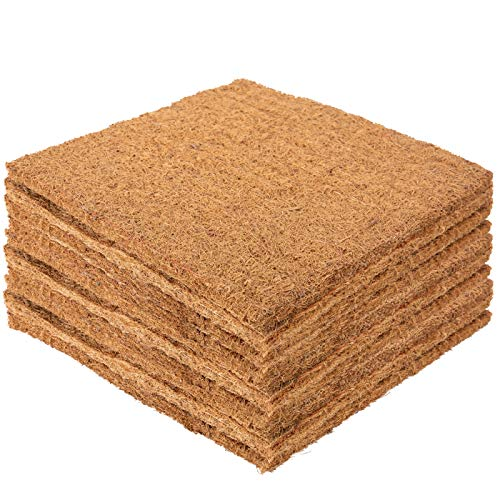 Aulock 10 Pack Extra Thick Coco Coir Liner Chicken Nest Pads- Thickened Coconut Fiber Nesting Box Liners Chicken Coop Bedding Mats Hen House Bottom Poultry Supplies for Composting Hen Laying Eggs