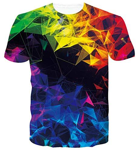 Spreadhoodie Hombre Geometría T-Shirt Modelo 3D Colorida Impresos de Dibujos Animados Casual Galaxia Camiseta de Manga Corta Tees XL