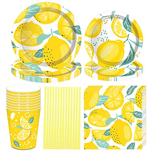 Formemory 69 Pcs Summer Fruit Party Supplies - Lemon Party Tableware Set,Tropical Hawaiian Themed Tableware Set for Girl Kids Birthday, Yellow Parper Plats, Lemon napkins (8Guests)