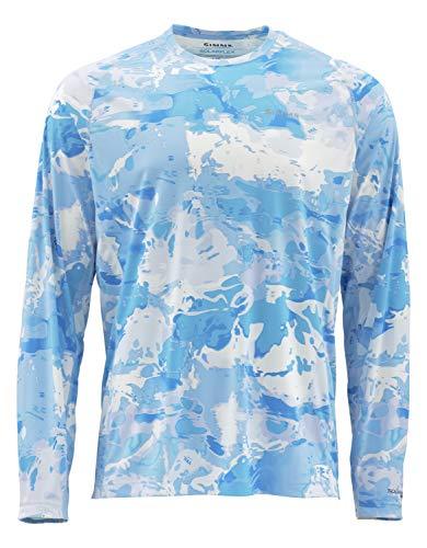 Simms Solarflex Fishing Shirt, UPF 50+ Sun Protection, Cloud Camo Blue, Large