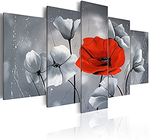5 panels Red Poppies Floral Art Modern Abstract Flower Canvas Painting Home Decor Grey Wall Art Framed Print Pictures Artwork for bedroom