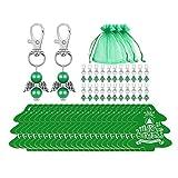 XUNXI Llaveros, 24 Piezas/Juego Llaveros a Favor de ángel Llavero Etiquetas de árbol de Feliz Navidad Bolsas de Dulces para Baby Shower Decoración de Banquete de Boda Verde