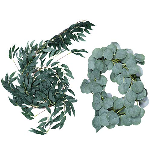 Gaetooely 6.5-Foot Artificial Eucalyptus Garland and 6-Foot Willow Vine Branches Leaf Garland String Door Green Garland Indoor and Outdoor Set