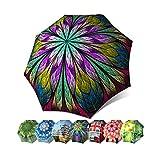 Abstract Art Umbrella for Women - Designer Umbrella Windproof Auto Open Close - Fashion Umbrella Vintage Stylish Gift - Compact Automatic Fancy Umbrella Dragonfly Design - Stained Glass Umbrella