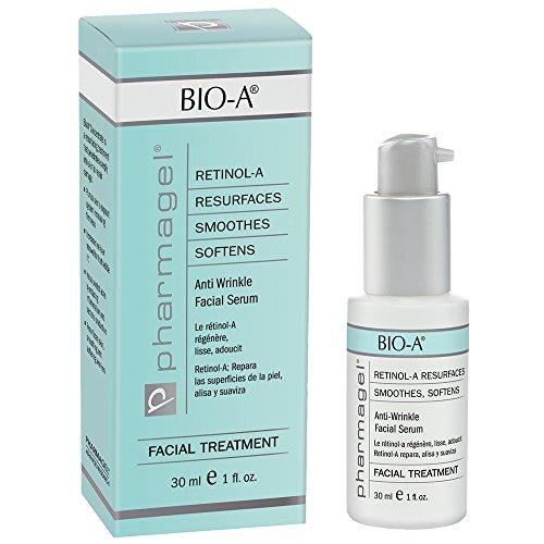 Pharmagel Bio-A Facial Serum   Retinol Serum   Anti Aging and Anti Wrinkle   Smoothes, Softens, & Brightens Skin   Acne Discoloration Treatment - 1 Fl Oz