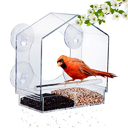 Emalie Squirrel Proof Window Bird Feeder with 4 Strong Suction Cups and Sliding Partitioned Seed Tray, Clear Acrylic Outdoor Birdfeeders for Wild Birds, Outside Birdhouse Kit with Drainage Holes