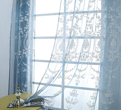 Aside Bside Victorian Design Sheer Curtain Luxurious Pattern Embroidered Rod Pocket Top Window Decoration for Living Room Bedroom and Office (1 Panel, W 50 x L 95 inch, Blue Bottom+Silver Embroidery)