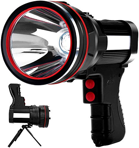 Rechargeable SpotlightSuper Bright 6000 Lumens Handheld Spotlight IPX4 Waterproof Emergency Lamp Camping Flashlightwith Foldable Tripodwith USB Output Power Bank