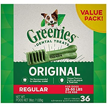 GREENIES Original Regular Natural Dog Dental Care Chews Oral Health Dog Treats 36 oz Pack  36 Treats