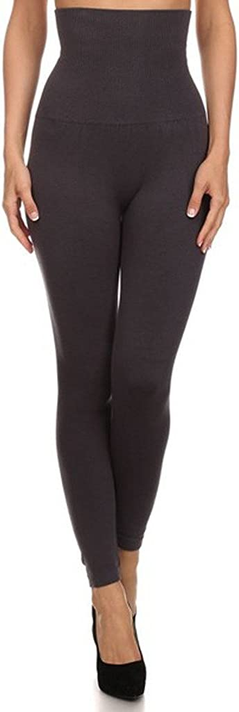 YELETE Women's Empire Waist Tummy Compression Control Top Leggings, French Terry Lining