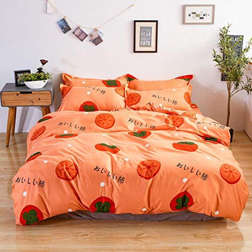 WSNALGQ Funda nórdica Estampada 4 Piezas Caqui de Fruta Naranja Microfibra Juego de Ropa de Cama,1 Funda de edredón con Cierre de Cremallera 1 Hoja + 2 Fundas de Almohada 180x220cm