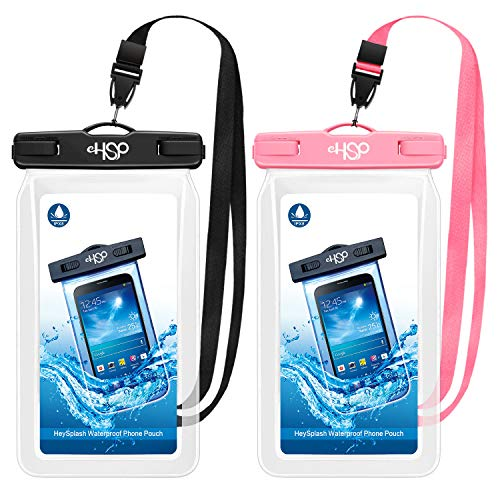 "HeySplash Floating Waterproof Phone Case, (2 Pack) Underwater Cellphone Pouch Dry Bag with Lanyard Compatible with iPhone 12/12 mini/12 Pro/Pro Max/11 Pro Max/XS Max/11/XR/SE, Up to 7"" Black+Pink"