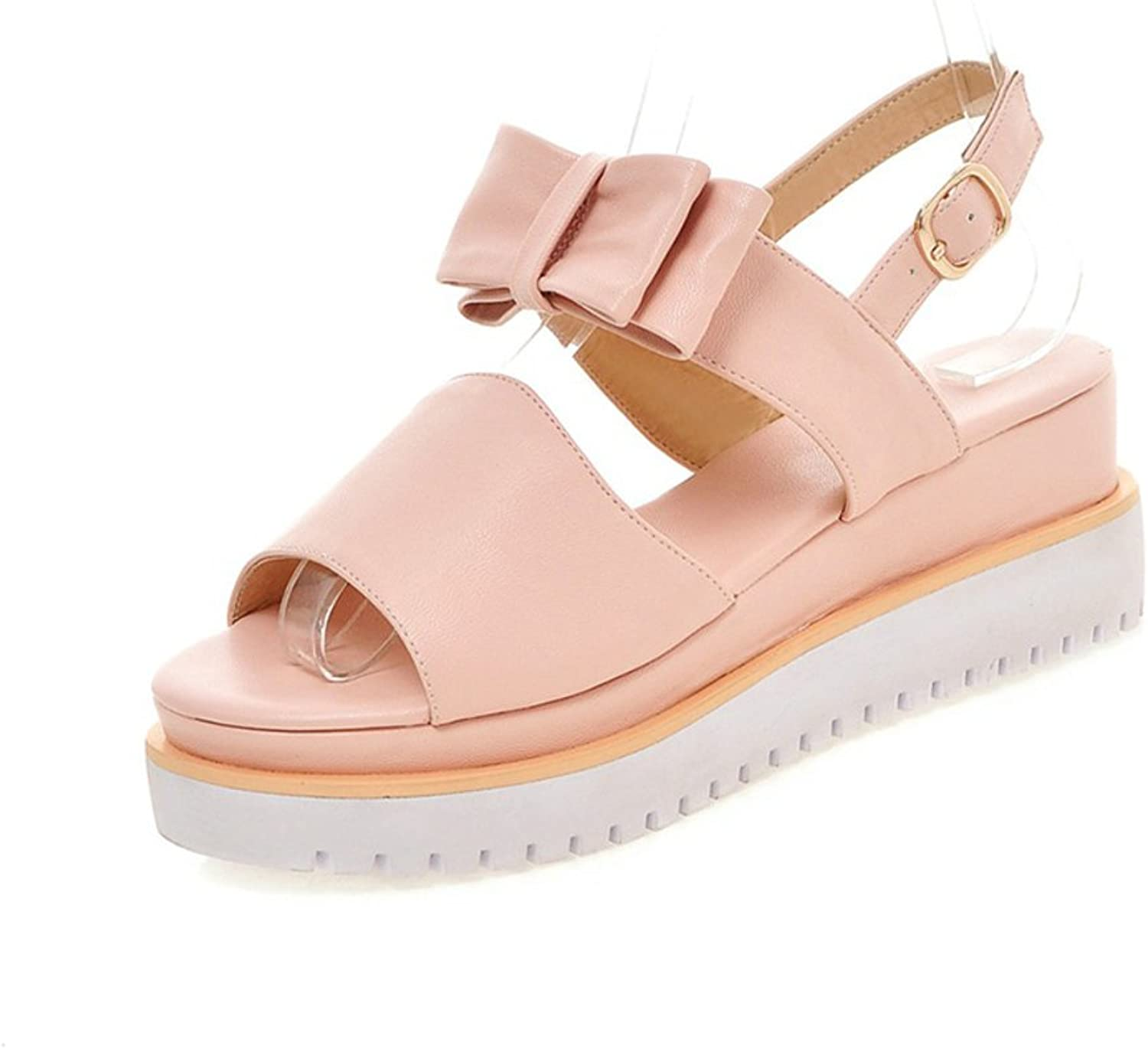 RHFDVGDS Lady sandals in the spring and summer Peep-toe wild sweet clean bow platform wedge Sandals