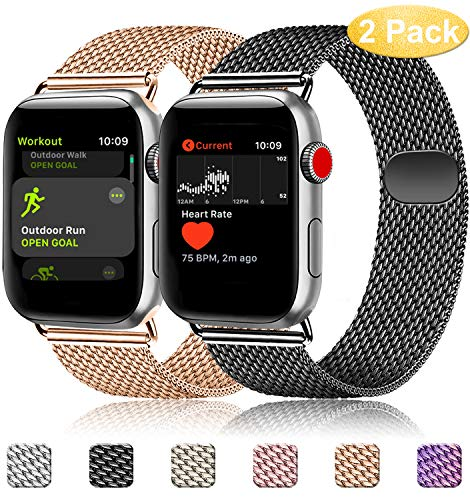 Mugust Pack 2 Correa Compatible con Apple Watch Correa 38mm 42mm 40mm 44mm, Malla de Acero Inoxidable Correa de Bucle con, para iWatch Serie 5/4/3/2/1 (38mm/40mm, 02 Negro+Oro Rosa)
