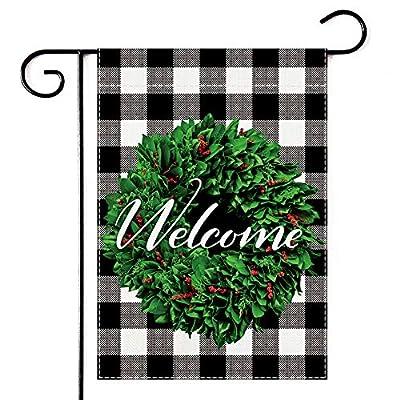 Boxwood Wreath Welcome Garden Flag, Burlap Buffalo Check Plaid Vertical Double Sided 12.5 x 18 Inch, Spring Summer Fall Yard Porch Patio House Outdoor Decor