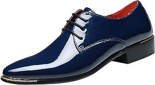 zpllsbratos Zapatos de Cordones Cuero Hombre Zapatos Charol Vestir Negocios Boda Oxford Derby 38-48