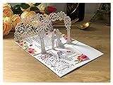Tarjeta de Felicitación  (10pcs / Lote) 3D Pop-up Blanco Tarjeta de invitación de Boda TTI-plegada Bolsa de Corte de Novia y Novio Saludo Invitación Tarjetas (Farbe : White, Größe : Whole Set)