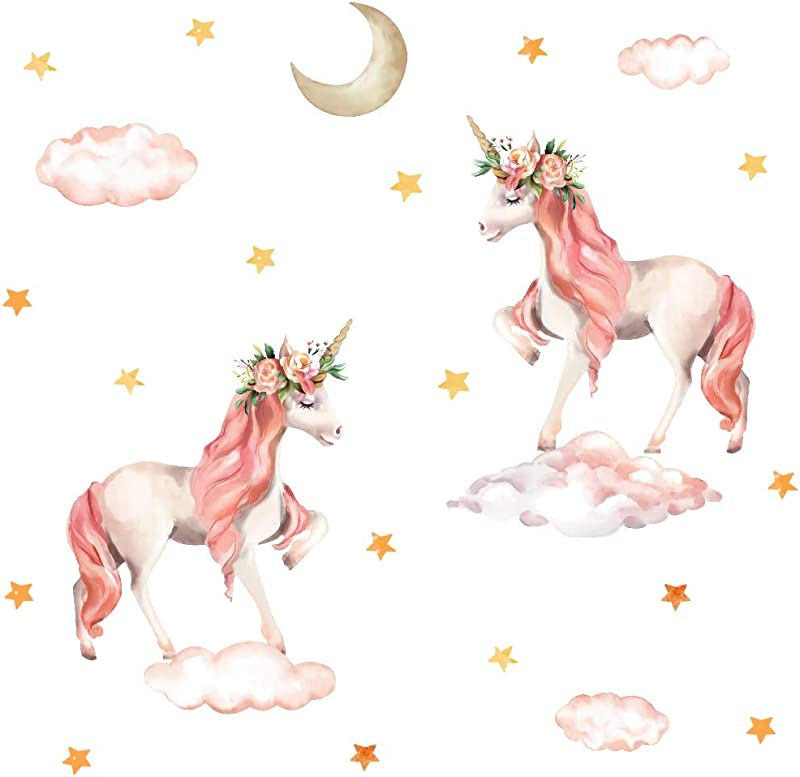TOARTi Pink Unicorn Wall Decal Horse Unicorn Sticker With Clouds Moon Star Decal Fairytale Wall Decals For Girls Bedroom Home Decor