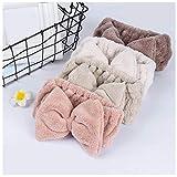 KUANGWENC Diadema de lana de coral para mujer con lazo grande, bandas elásticas para el cabello, accesorios de maquillaje, lavado de cara, diademas de invierno de felpa, 4 unidades