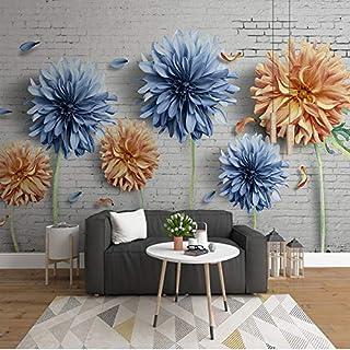 Custom Photo Wallpaper Vintage Brick Wall Flower 3D Mural Living Room TV Sofa Background Wall Home Decoration Papel De Par...