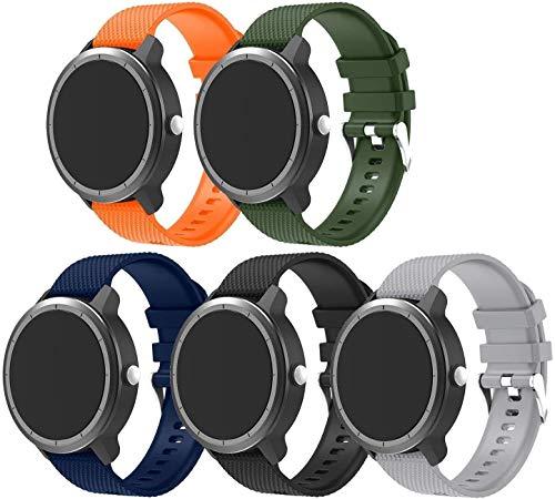 Gransho Bracelet Montre Silicone 20mm, Replacement Bande Bracelet Chaîne de Montre avec Fermoir en Métal Réglable (20mm, 5PC01)