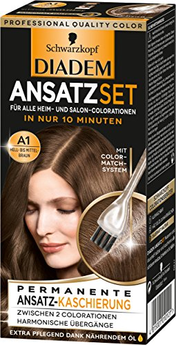 SCHWARZKOPF DIADEM Ansatzset, Haarfarbe A1 Hell- bis Mittelbraun Stufe 3, 3er Pack (3 x 22 ml)