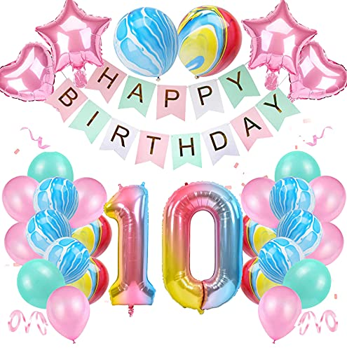 "10 Años Decoración de Cumpleaños de Niña Color Degradado Número 10 de ágata Número Gigante 10(40""-100CM) Aluminio Colorido Globos de Cumpleaños de Látex para Niñas"
