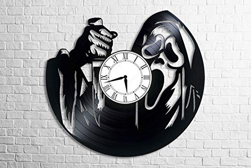BestGiftStore Scream Movie maniac with a Knife Horror Creepy Halloween Wall Vinyl Art Clock Gift for her Gift for him Childrens Kids Men Women Bedroom Kitchen Home Decor