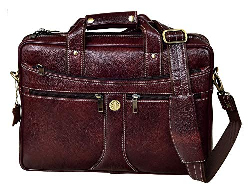 Hammonds Flycatcher Bombay Brown Leather 15.6 inch Laptop Messenger Bag (L=39,B=9, H=27 cm) LB164…