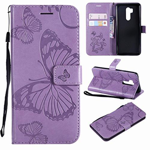 Laybomo für LG G7 ThinQ / G710EM Ledertasche Schuzhülle Weiches TPU Silikon Slim Flip Cover Magnetisch Brieftasche Schale Handyhülle für LG G7 mit Kartensteckplatz, 3D Schmetterling (Lila)