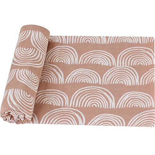 LifeTree Baby Pucktuch Musselin Tuch, 120x120cm Musselin Swaddle Decke Baby Bambus Baumwolle Swaddle Wrap für Junge und Mädchen, Regenbogen Design