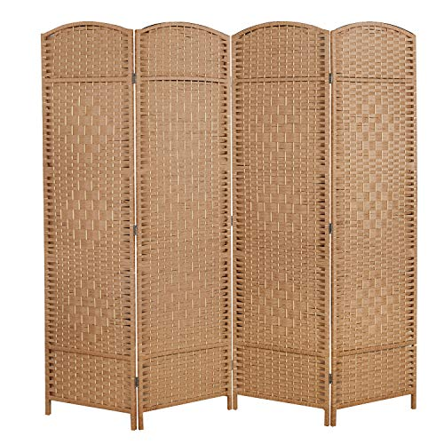 cocosica 6 ft. Tall Room Divider and Folding Privacy Screen, Weave Fiber Foldable Panel Wall Divider with Diamond Pattern Weaved & 4 Panel Room Screen Divider Separator, Freestanding Room Divider