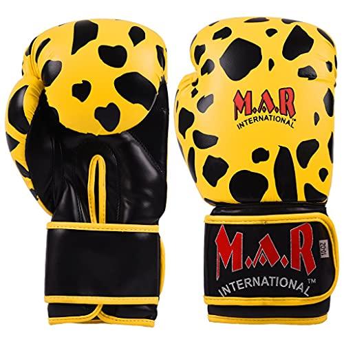 M.A.R International Ltd. Boxhandschuhe für Kickboxen, Thaiboxen, MMA, Muay Thai, Leoparden-Design, gelb/schwarz, 453,6 g (16 oz)