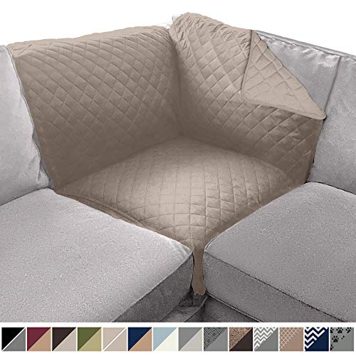 Sofa Shield Original Patent Pending Reversible Sofa Corner Sectional Protector, 30x30 Inch, Washable Furniture Protector, 2 Inch Strap, Sectional Corner Slip Cover for Pets, Dog, Cat, Light Taupe