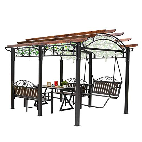 WANGLX Gazebos for Patios, Retro Style Grape Frame Canopy Villa Courtyard Pavilion, with Rainproof Cloth and Swing Chair for Patio Garden Poolside