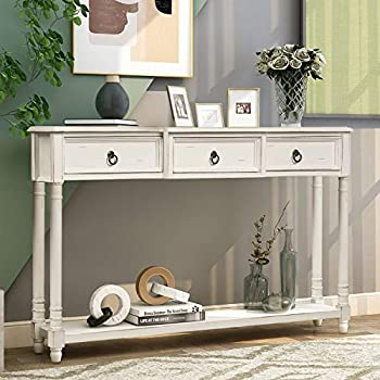 Merax Narrow Console Sofa Table with Drawers and Long Shelf for Living Room Entryway/Hallway Antique White