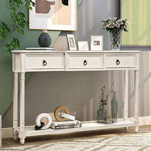 Merax Narrow Console Sofa Table with Drawers and Long Shelf for Living Room, Entryway/Hallway, Antique White