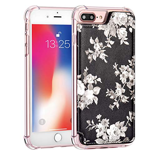 """iPhone 8 Plus Wallet Case,iPhone 7 Plus Case with Card Holder,MISSCASE Premium PU Leather Card Holder Case,Double Magnetic Clasp,Flower Pattern Cover for iPhone 7 Plus/ 8 Plus 5.5"""" White&Black"""
