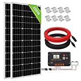 ECO-WORTHY 200W (2 * 100W) Kit Pannello Solare Monocristallino Off Grid con Regolatore di Carica LCD + Cavi + Staffe di Montaggio per Barche Capanno Campeggio